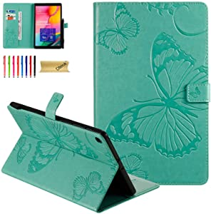 Galaxy Tab A 10.1 2019 Case SM-T510 - Dteck Embossed Butterfly Leather Folio Stand Cover Case with Card Slots Wallet Cover for Samsung 10.1 inch Tablet 2019 Tab A 10.1 SM-T510/T515, Green