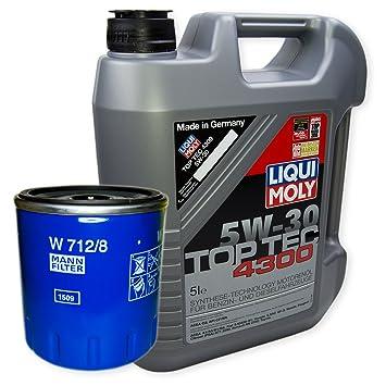 Liqui Moly Top Tec 4300 5 W-30 3741 + Muñeco filtro de aceite W 712/8: Amazon.es: Coche y moto