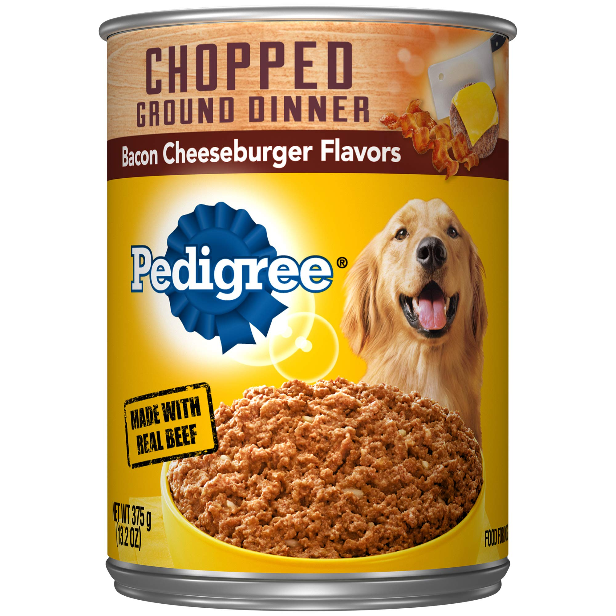 Pedigree Chopped Ground Dinner Bacon Cheeseburger Flavors Adult Canned Wet Dog Food, (12) 13.2 Oz. Cans by Pedigree