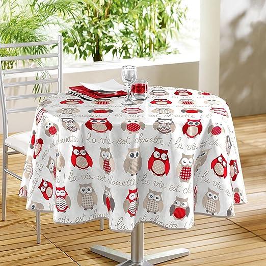 Mantel de mesa redonda ø160 cm Super búho rojo de hule: Amazon.es ...