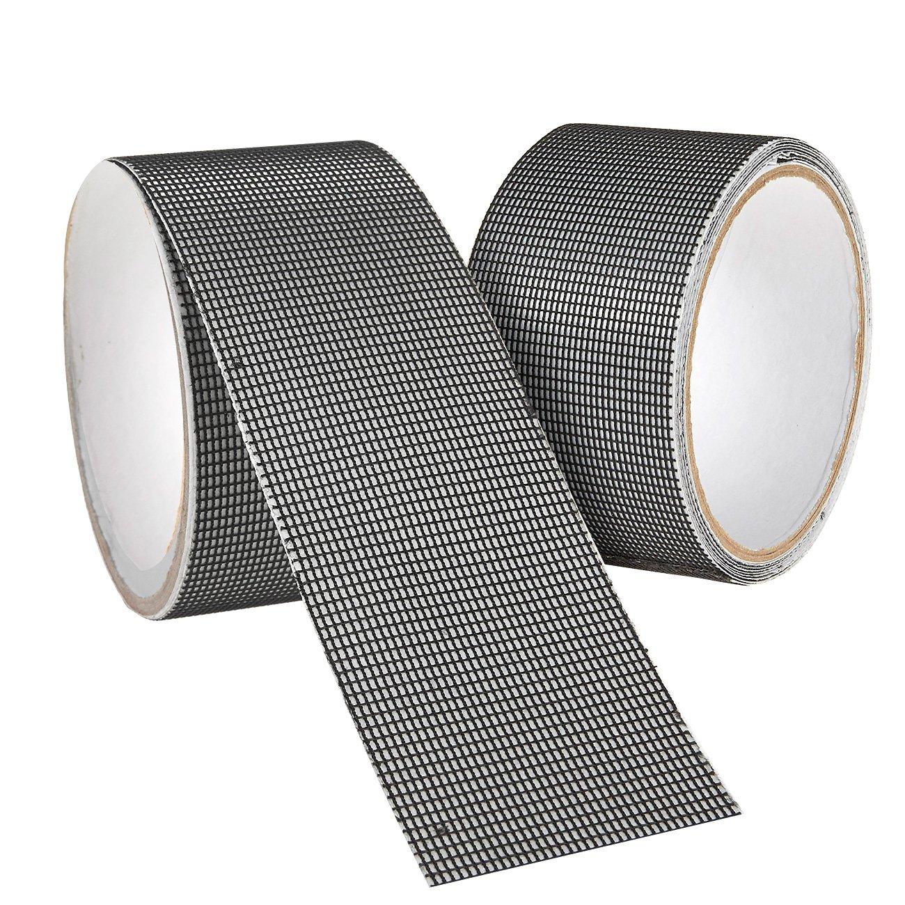 2 Pack Window and Door Screen Repair Tape Adhesive & Waterproof screen repair kit Fiberglass Cloth Mesh 2 x 80 inches