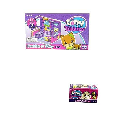Tiny Tukkins Cuddle N Play Playset and Baby 'n' Crib Set Blind Plush Mini Pack Bundle: Toys & Games