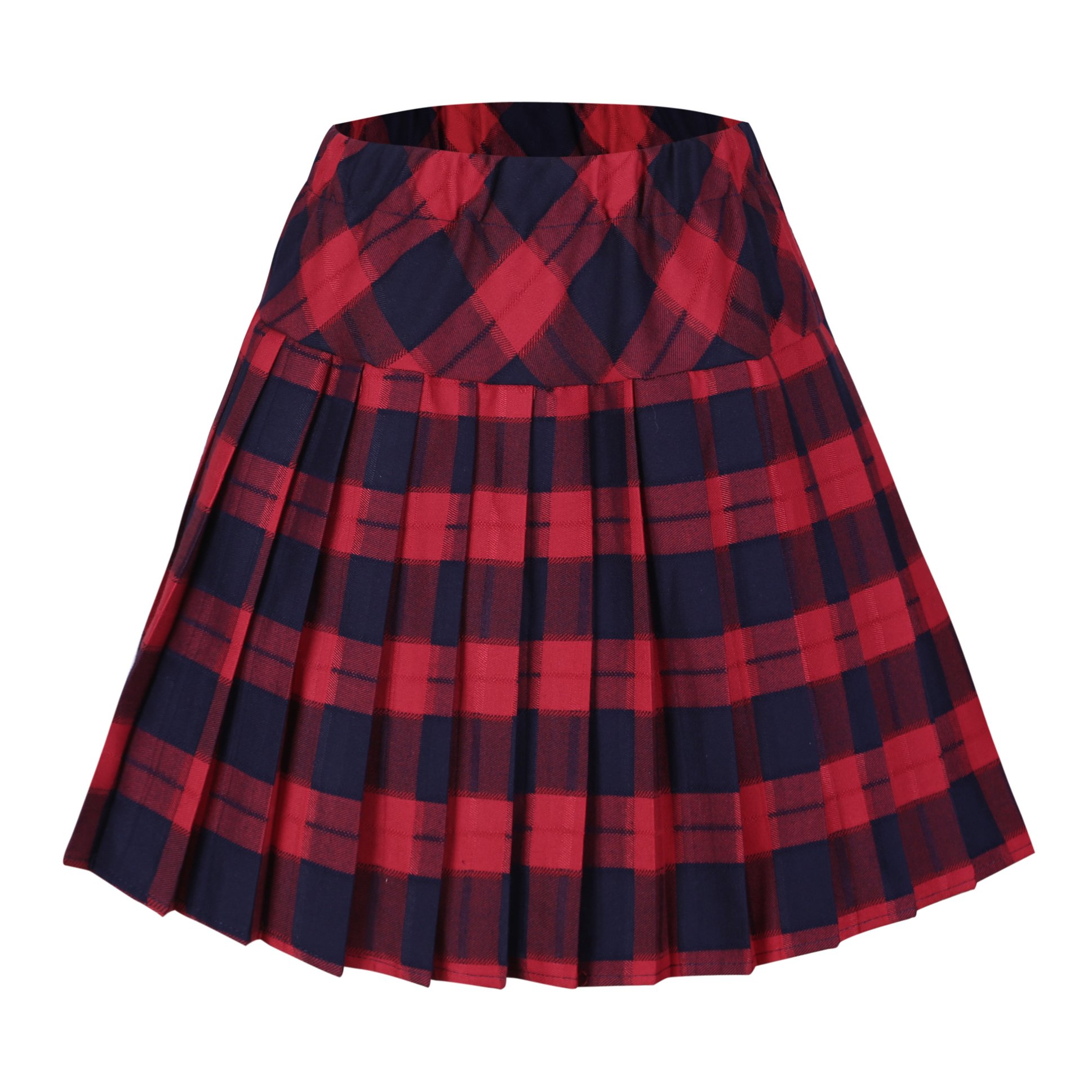 Urban CoCo Women's Elastic Waist Tartan Pleated School Skirt (XX-Large, Series 5 red)