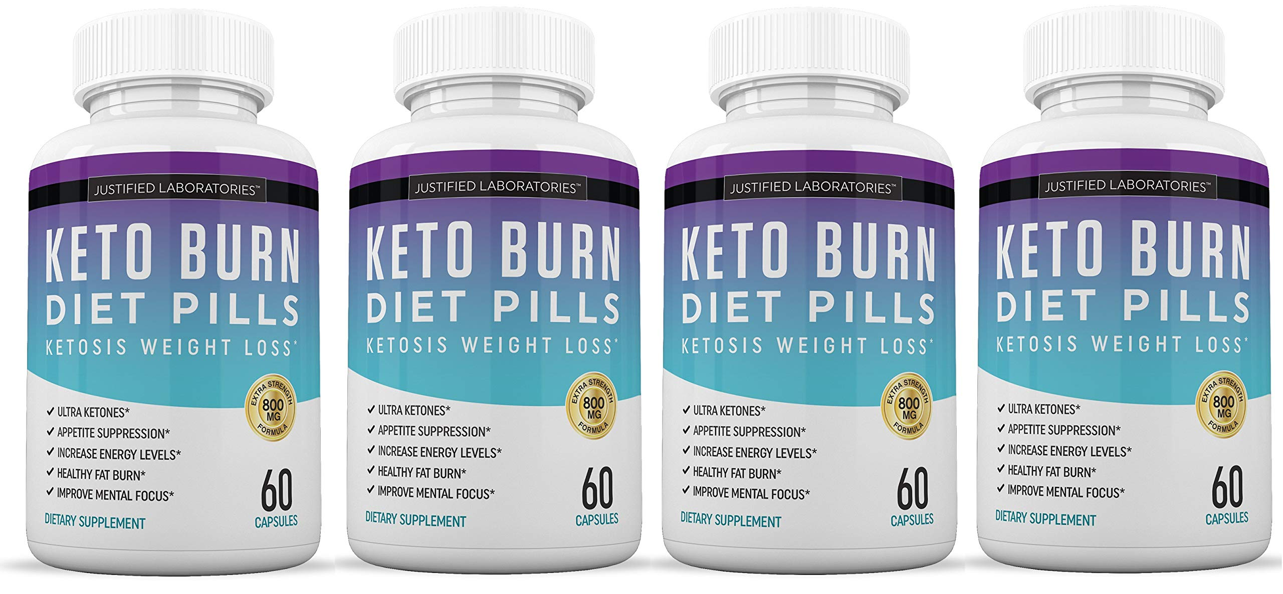 Keto Diet Pills Burn Shred BHB Salts Advanced Ketogenic Supplement Exogenous Ketones Ketosis Weight Loss Fat Burner Boost Energy Metabolism Men Women 60 Capsules 4 Bottles by Justified Laboratories