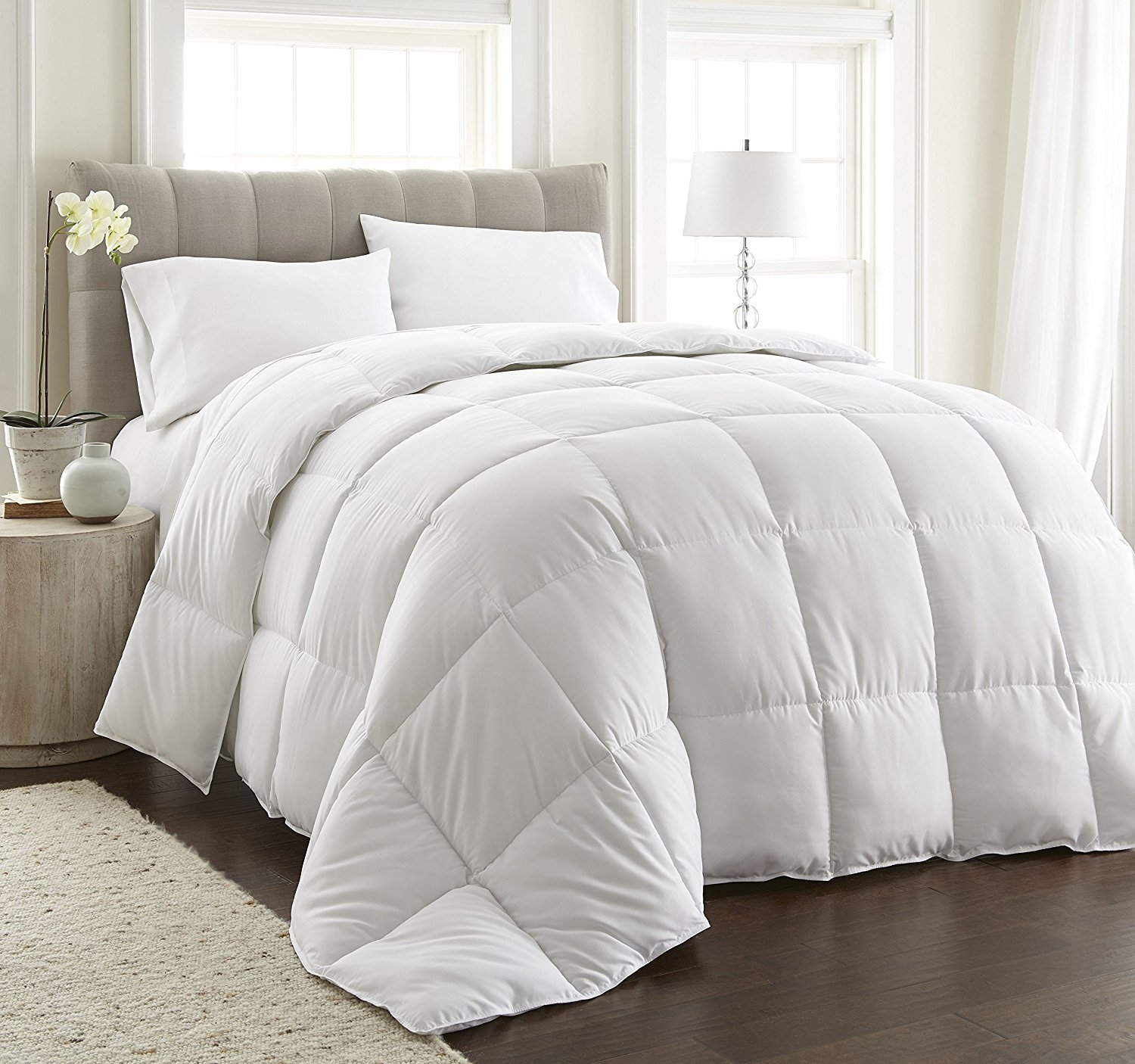 Unite Down Extremely Soft Goose Down Comforter/Duvet/Quilt For All Seasons 100% Organic Cotton (Cal King 108x94inch, White)