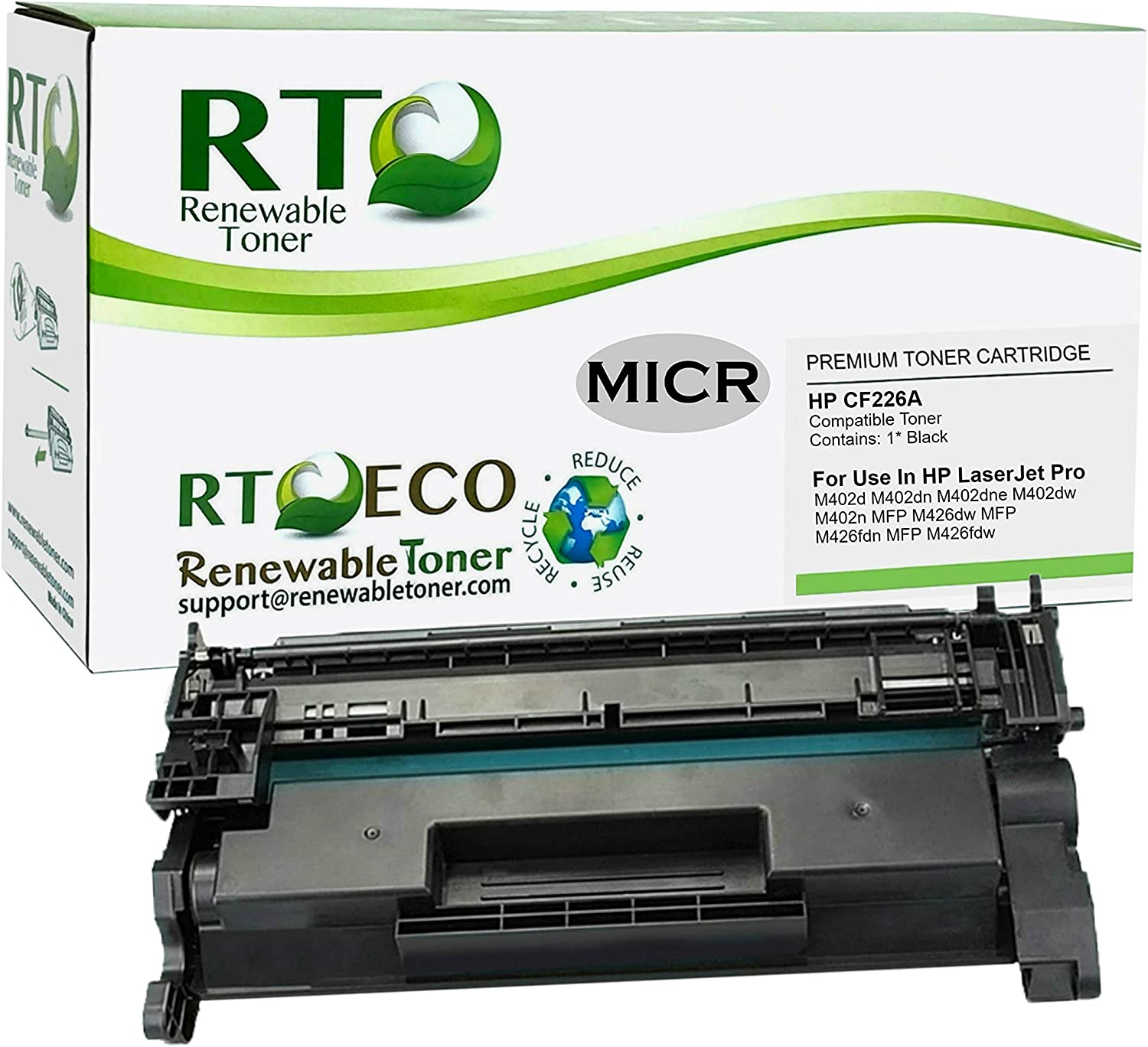 Renewable Toner Compatible MICR Toner Cartridge Replacement for HP 26A CF226A Laserjet Pro M402 M426