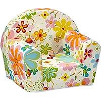 Fauteuil enfant Ludger pour filles et garçons, fauteuil bébé en mousse, douillet et moelleux, avec motif Fée des fleurs