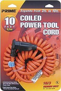 Prime Ad010610 10' 16/3 Sjt Orange Coiled Power Tool Cord