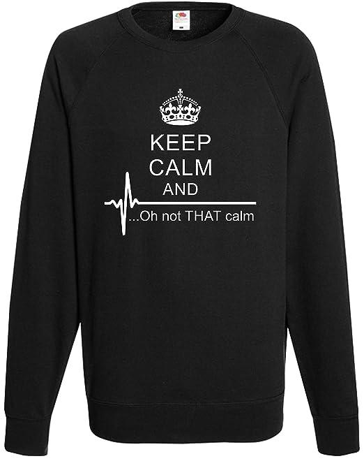 5725c3103 Keep Calm and Oh Not Sweatshirt Flat Line Jumper Top Xmas Funny Heart Joke  Gift: Amazon.co.uk: Clothing