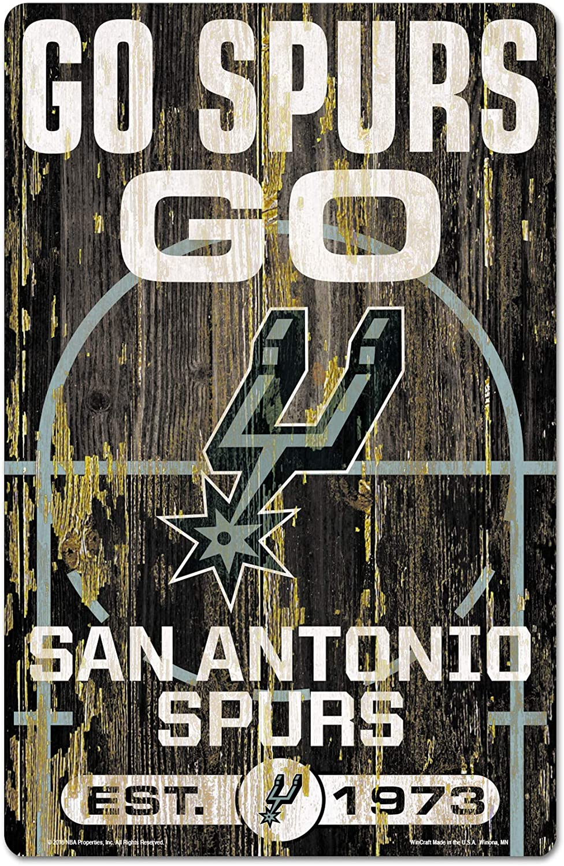 "WinCraft NBA San Antonio Spurs 72515010 Wood Sign, 11"" x 17"", Black"