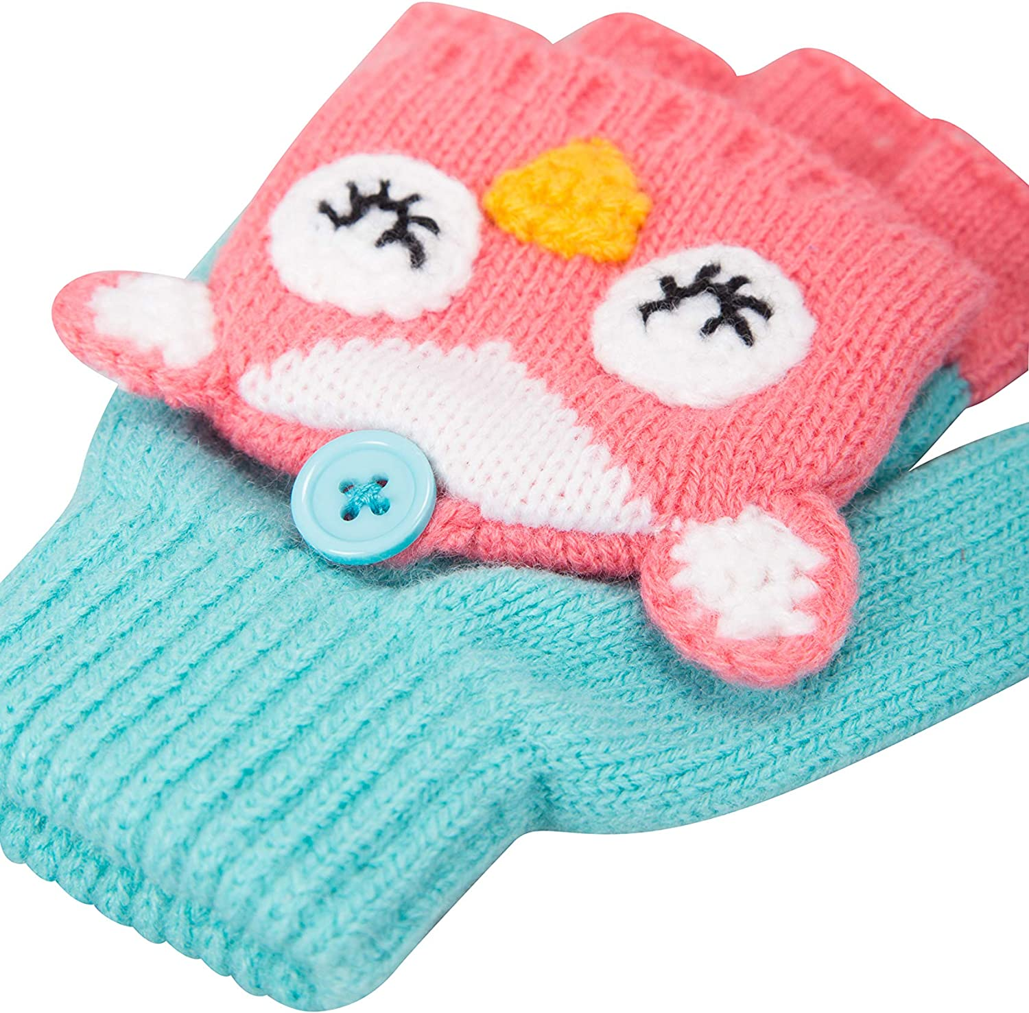 Cosy Childrens Glove For Camping Mountain Warehouse Owl Knitted Kids Gloves Warm Winter Accessory Outdoor Hiking Mitten Flaps Character Hand Gloves