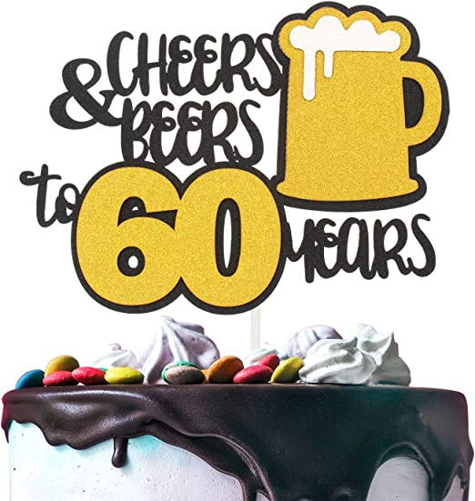 Amazing Cheers Beers To 60 Years Gold Glitter Cake Topper Happy Birthday Funny Birthday Cards Online Overcheapnameinfo