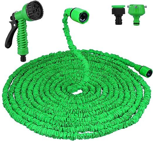 Flexible Manguera de Jardín, Vegkey Manguera extensible, Flexible Manguera Expansible de Jardín Riego de 10 m a 30 m con Boquilla de Pulverización Pistola de Aerosol Multifunción o Limpieza de Coche: Amazon.es: Jardín