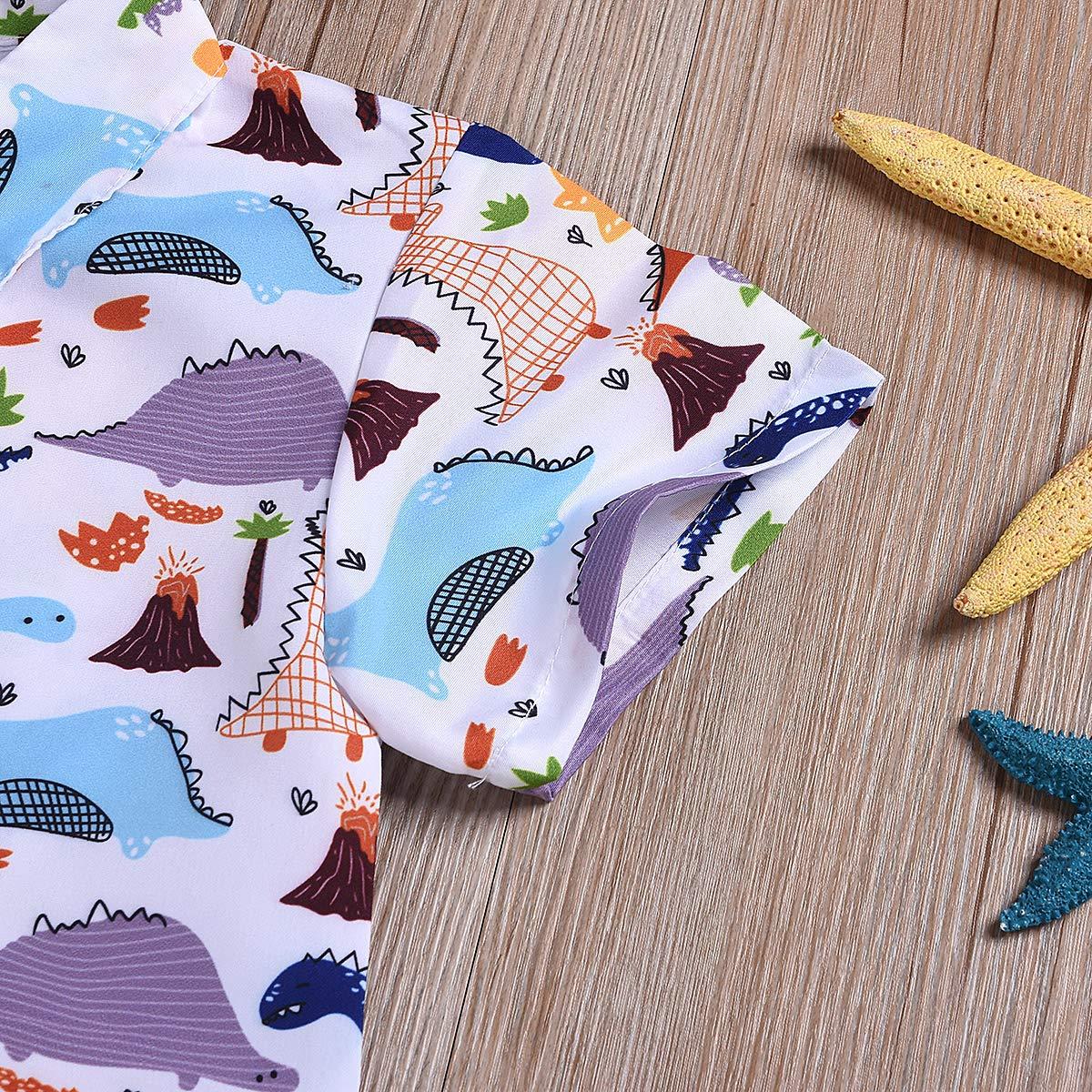 Borlai Abbigliamento alla Moda Dinosauri Regalo di Compleanno 2 Pezzi Pantaloncini Top Camicia Pantaloni Vestito Estivo per Bambini con Stampa Animalier