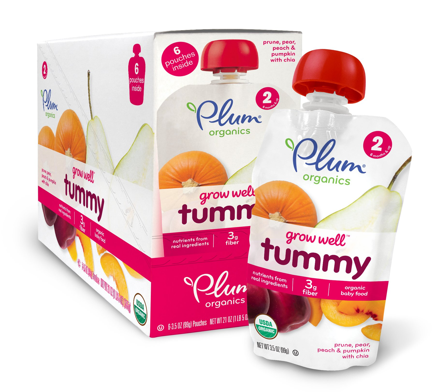 Plum Organics Baby Grow Well Food, Prune/Pear/Peach/Pumpkin with Chia Puree, 3.5 Ounce (Pack of 12) by Plum Organics
