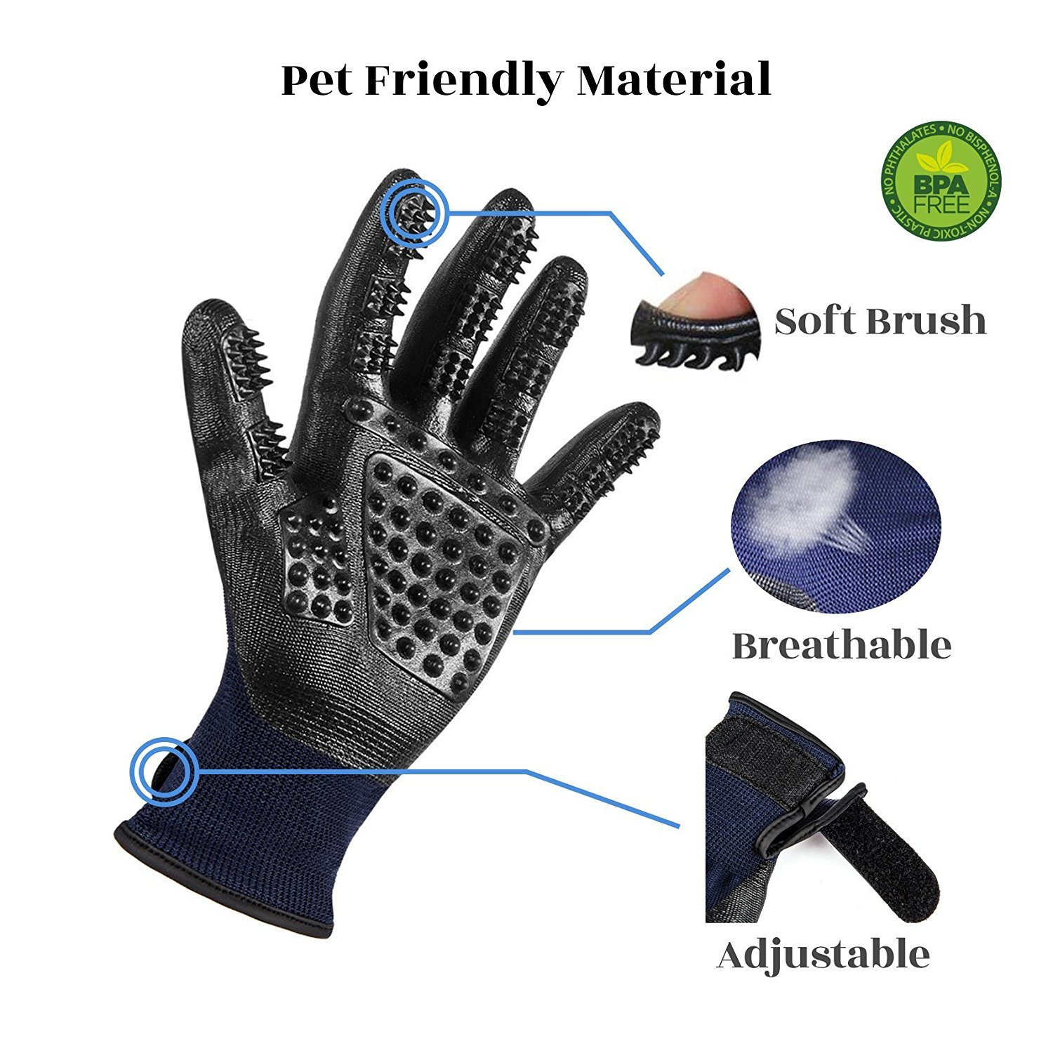LECMARK Pet Grooming Gloves - Hair Remover Brush for Dogs, Cats & Hors with Long Short Fur - Geesntle Massage Bathing Brush Tool by LECMARK (Image #2)