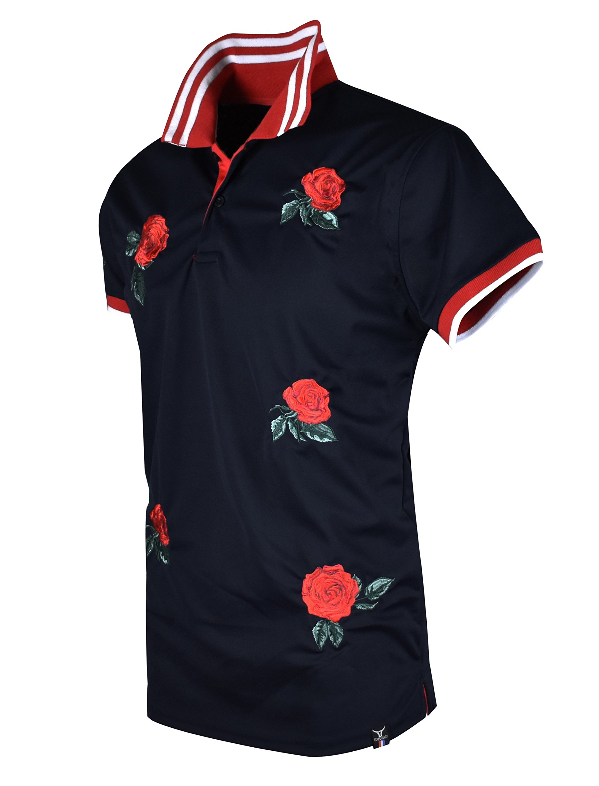 SCREENSHOTBRAND-S11815 Mens Hipster Hip-Hop Premium Tees - Stylish Fashion Rose Flower Embroidery Polo T-Shirt - Black-Medium