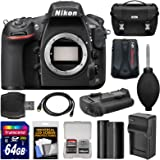 Nikon D810 Digital SLR Camera Body with 64GB Card + Battery & Charger + Case + GPS Adapter + Grip + Kit