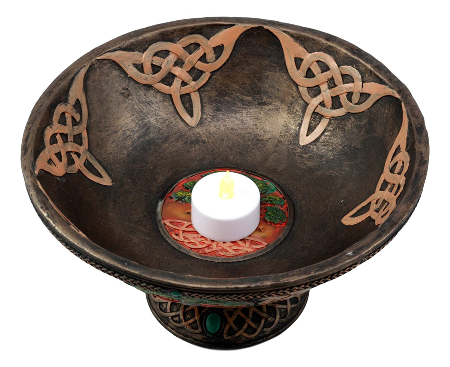 Ebros Ancient Celtic Tree of Life Offering Bowl Figurine 8.5H Celtic Trinity Knotwork Decorative Utility Holder Serving Bowl Statue