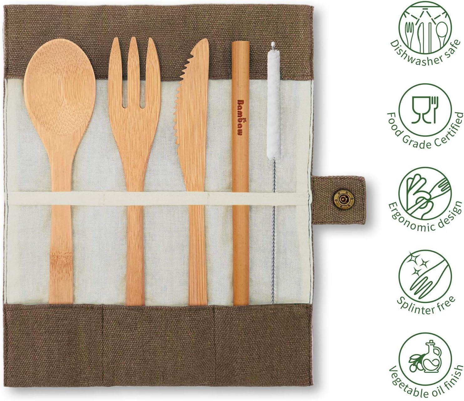 Bambaw Juego de cubiertos de bambú | Juego de cubiertos de viaje | Juego de cubiertos ecológicos | Cuchillo, tenedor, cuchara y pajita | Juego de ...