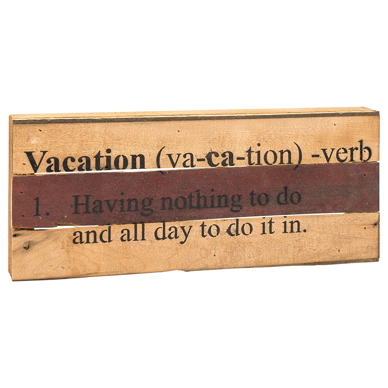 Second Nature By Hand Vacation Assorted Finish 14 x 6 Reclaimed Wood Decorative Wall Plaque Sign