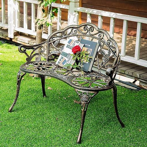 Bronze Patio Garden Bench Park Bench Loveseat