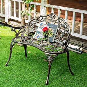 "Bronze Patio Garden Bench Park Bench Loveseats for Outdoor Porch, Patio, Garden, Lawn, Balcony, Backyard and Indoor, Metal Material Rose Pattern Noble & Elegant Best Loveseats - 39.7"" x 20.5"" x 30.7"""