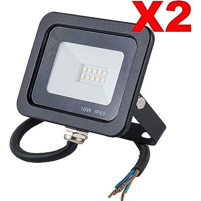 POPP® Foco Proyector LED 10W para uso Exterior Iluminación Decoración 6000K luz fria Impermeable IP65 Negro y Resistente al agua.PACK x2 (10)