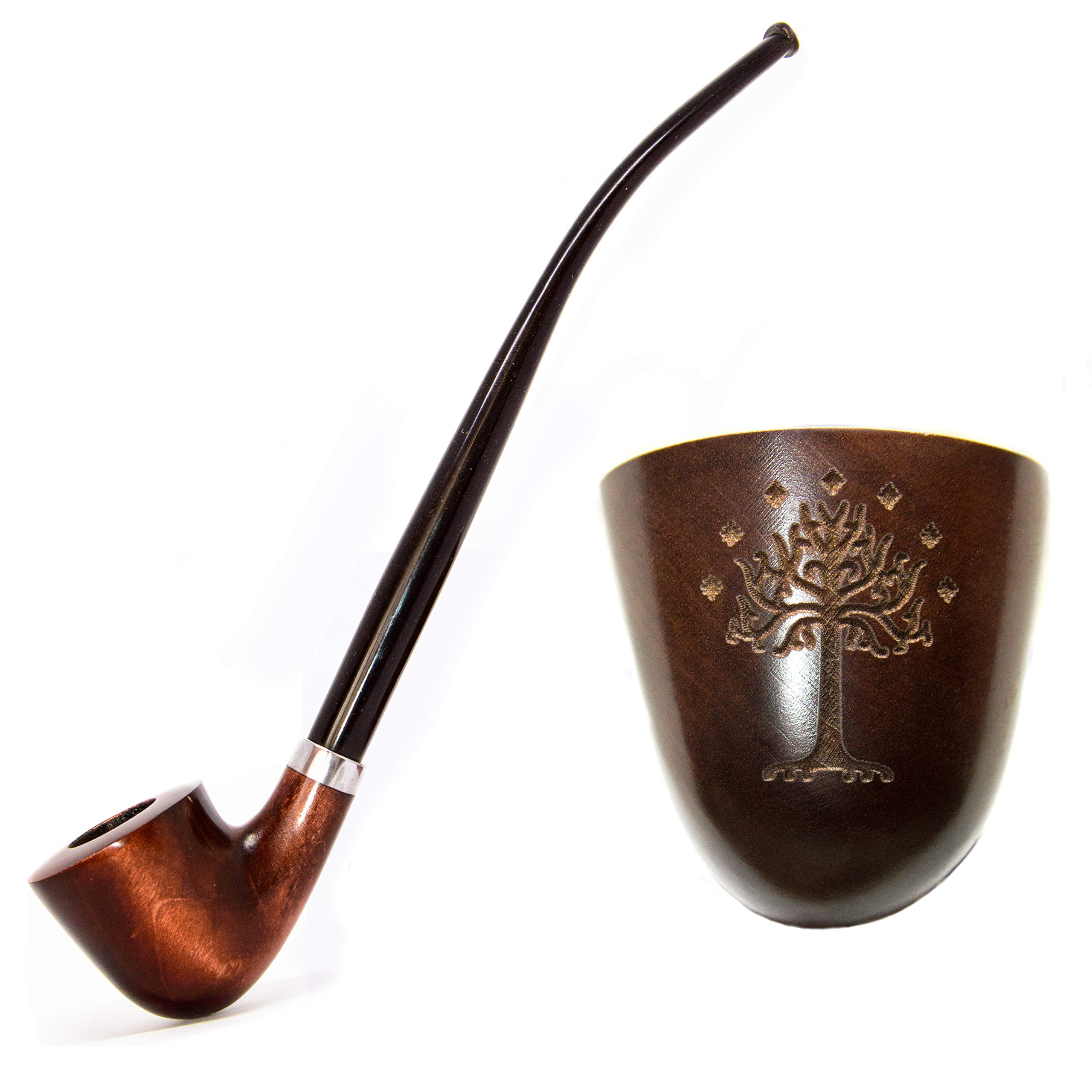 KAFpipeWorkshop Tobacco pipe Gandalf pipe Wooden pipe Tobacco Smoking pipe Lord of the Rings pipe Churchwarden pipe ''Tree of Gondor'' by KAFpipeWorkshop