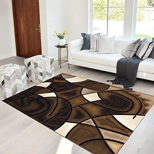 "HR-Chocolate Brown/ Beige/ Mocha/ Black/ Abstract Area Rug Modern Contemporary Circles and Wave Design Pattern 7'8"" X10'"
