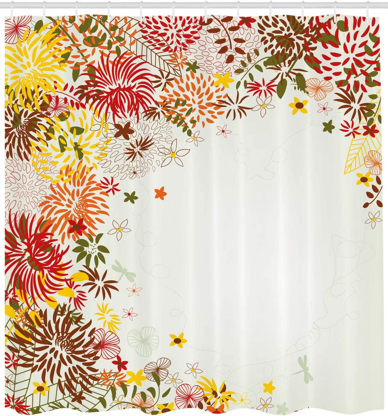 Light Pink and White Spring Season Floral Flower Details with Leaves Abstract Backdrop Ambesonne Shabby Chic Shower Curtain 70 Inches Fabric Bathroom Decor Set with Hooks