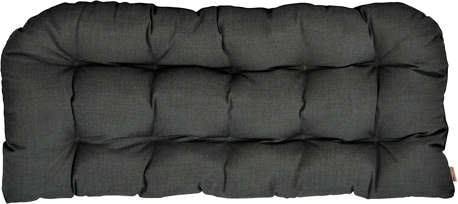 "RSH Décor Indoor ~ Outdoor Sunbrella Canvas Coal Large(44""W x 22""D) Tufted Wicker Loveseat Settee Cushion ~ Dark Grey/Gray"