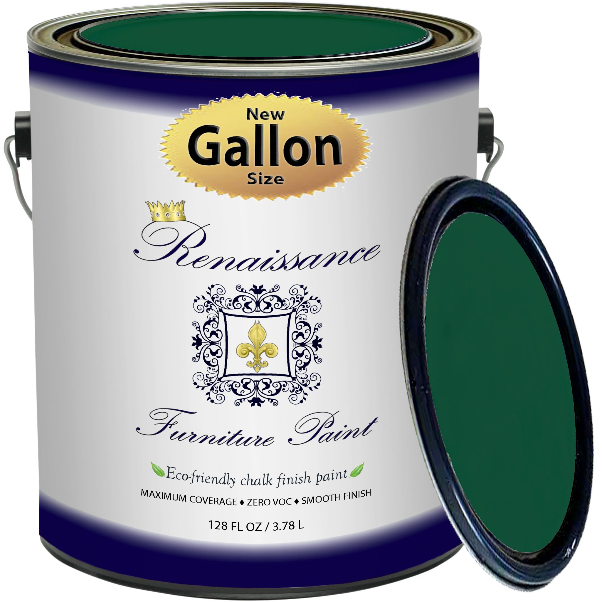 Renaissance Chalk Finish Paint - Viridian - Gallon (128oz) - Chalk Furniture & Cabinet Paint - Non Toxic, Eco-Friendly, Superior Coverage