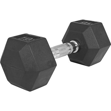 GORILLA SPORTS® Hexagon Kurzhantel Gummi 2-50 kg - mit Beschichtung und ergonomischen Chrom-Griff - TÜVRheinland Zertifiziert