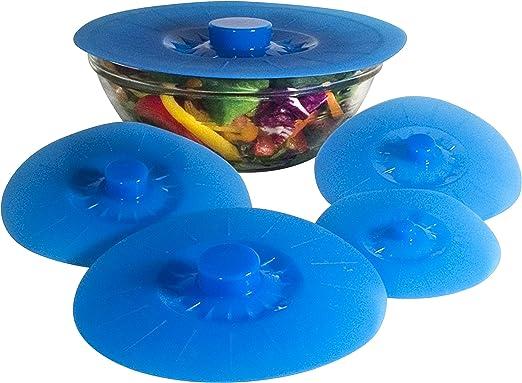 Amazon.com: Tapas reutilizables de silicona. Set de 5 tapas ...