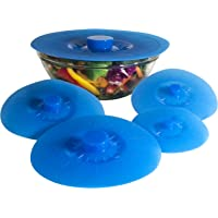 Silicone Bowl Lids Blue Set of 5 Reusable Suction Seal Covers for Bowls, Pots, Cups. Food Safe. Natural grip…