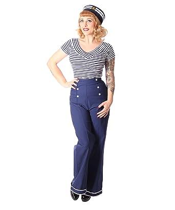 f5e308bafc4f7 SugarShock Putri Sailor Damen Hose High Waist Marlene Hose, Größe:S, Farbe: