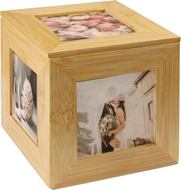 Cubo de la foto de bambú | Cuadro de cuadro de imagen | Caja de fotos | Caja de recuerdo de madera | Marco de fotos | Caja decorativa | M&W