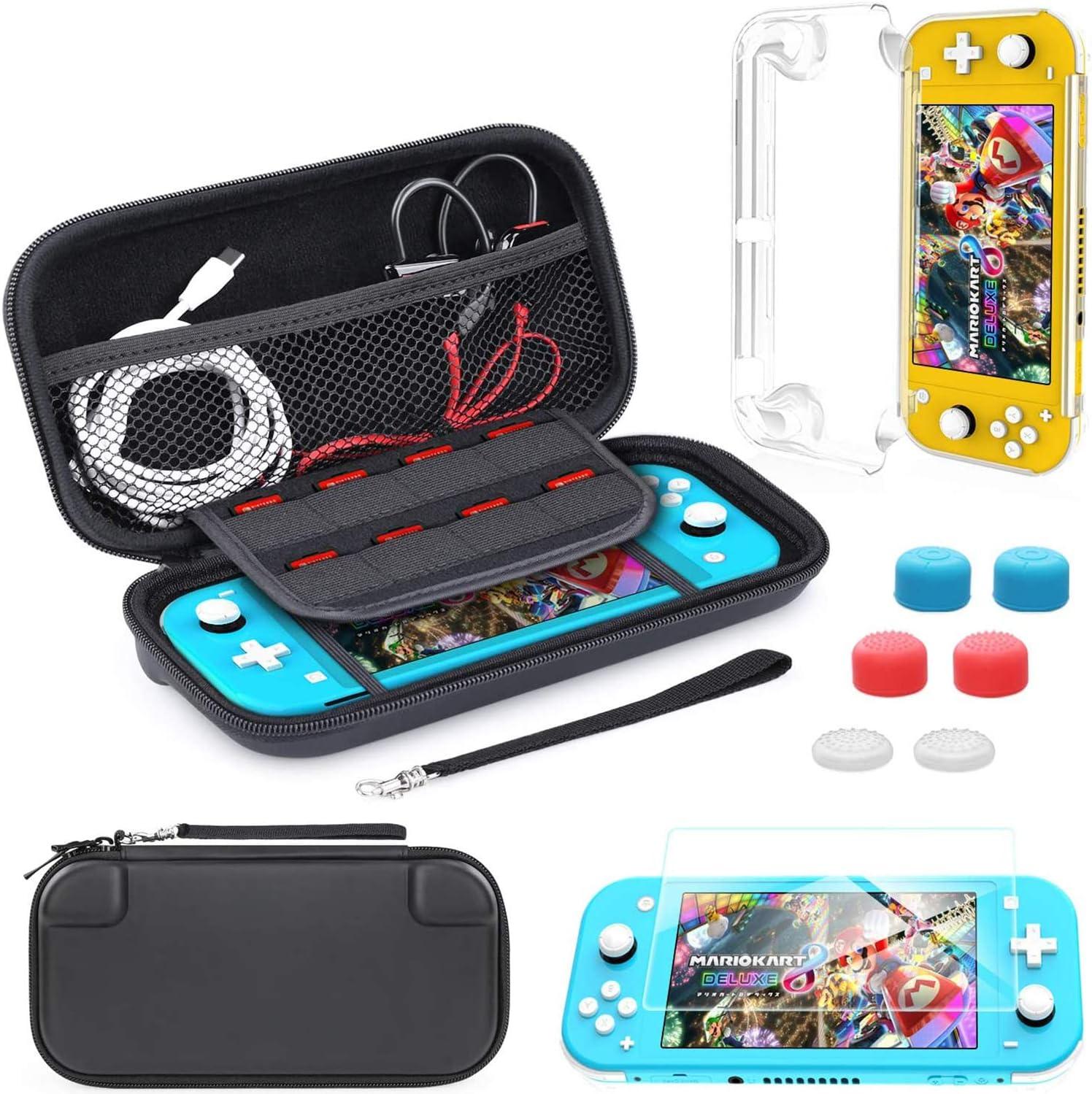 HEYSTOP Estuche de Transporte Compatible con Nintendo Switch Lite, Estuche Switch Lite + Protector de Pantalla + Tarjeta de Juegos + 6 Tapas de Agarre para el Pulgar: Amazon.es: Electrónica