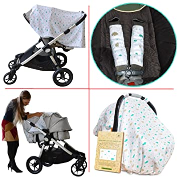 Leirai Carseat Canopy Set Baby Stroller Cover 2 Strap Covers For Newborn 100