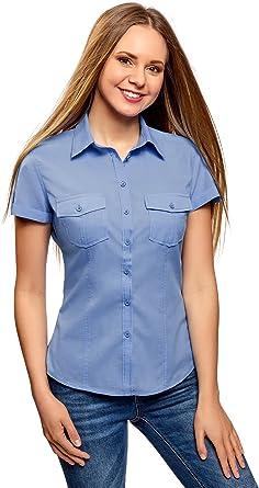 oodji Ultra Mujer Camisa de Algodón con Bolsillos en el Pecho
