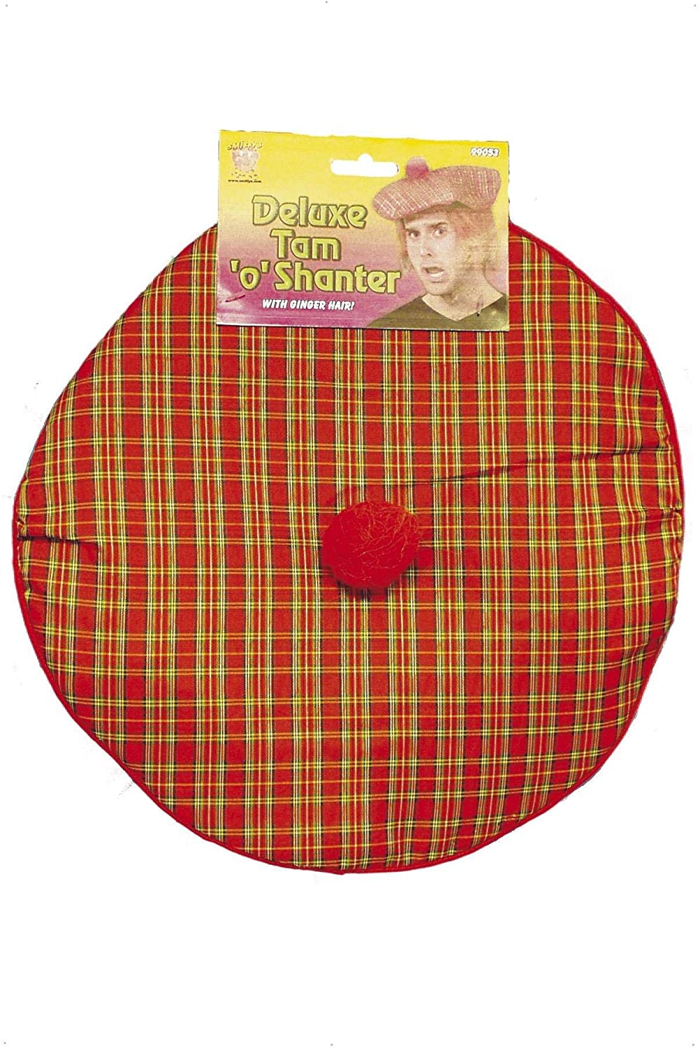 Multi Smiffys Mens Tam-O-Shanter with Hair Deluxe One Size