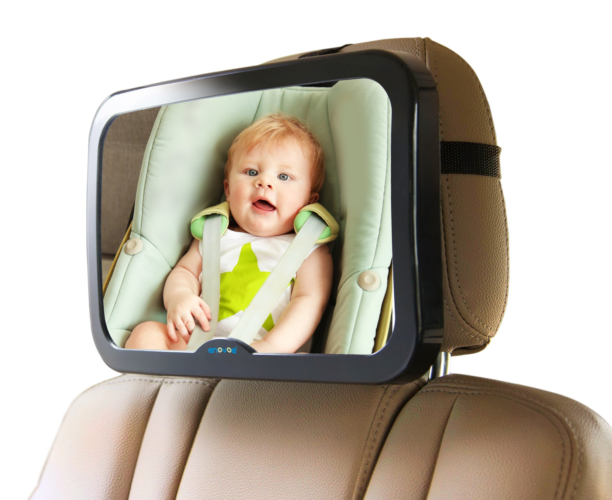 Baby Mirror for Car with Bonus Cleaning Cloth - Wide, Convex Rear Facing Backseat Mirror is Shatterproof and Adjustable - 360 Swivel Car Seat Mirror Helps You Keep an Eye on Your Infant or Child by Enovoe