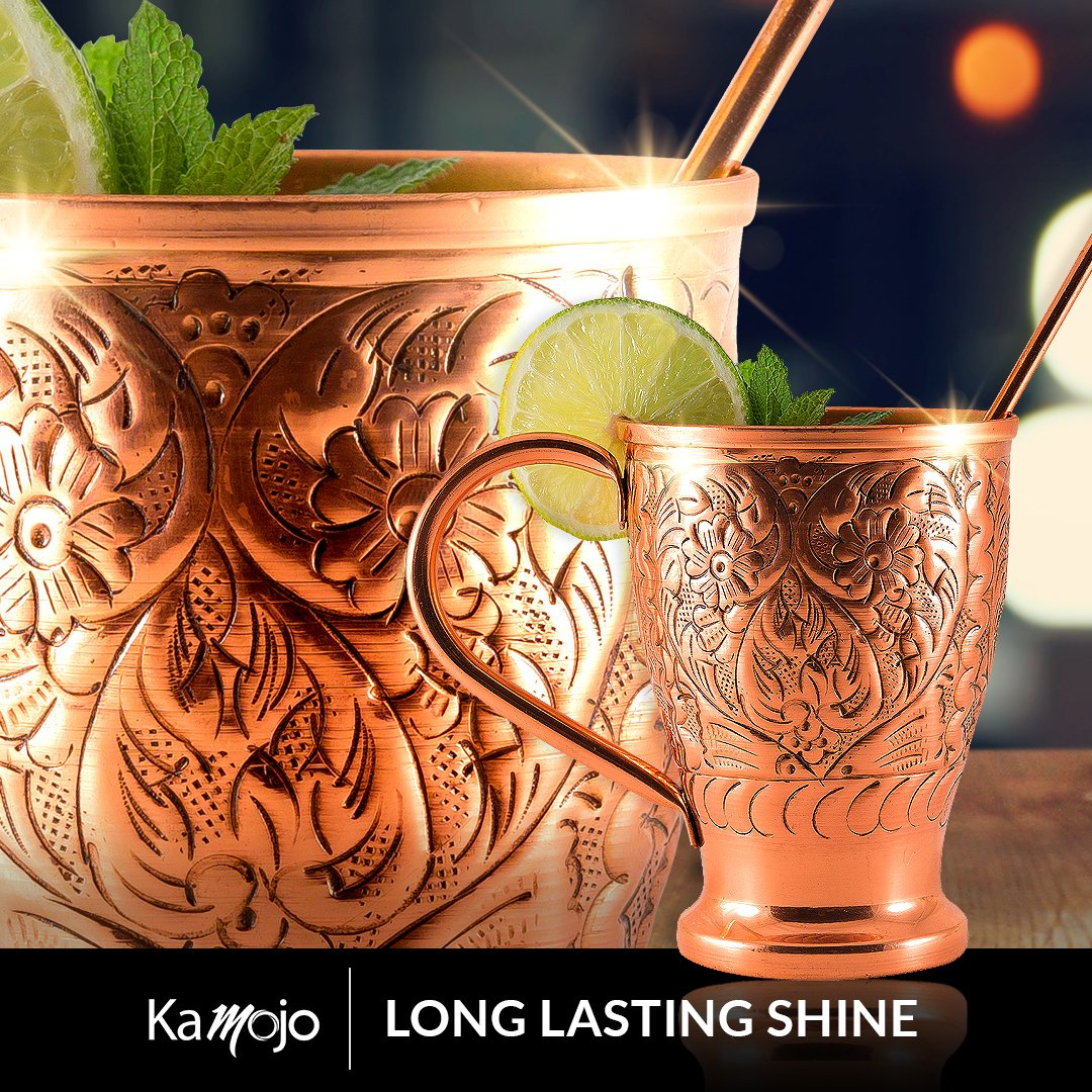 Moscow Mule Pure Copper Cups - Stunning Embossed Set of 4 Copper Mugs - Bonus Straws/Stir Sticks/Recipes- Kamojo Exclusive (Gift Set of 4) by Kamojo
