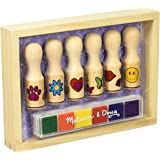 Melissa & Doug Happy Handles Wooden Stamp Set: 6 Stamps and 6-colour Stamp Pad
