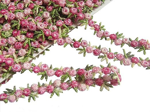 YYCRAFT 5 Yards Venise Rose Trim Wedding Bridal Ribbon Appliques Sewing Craft 5//8 Inch, Rose Pink