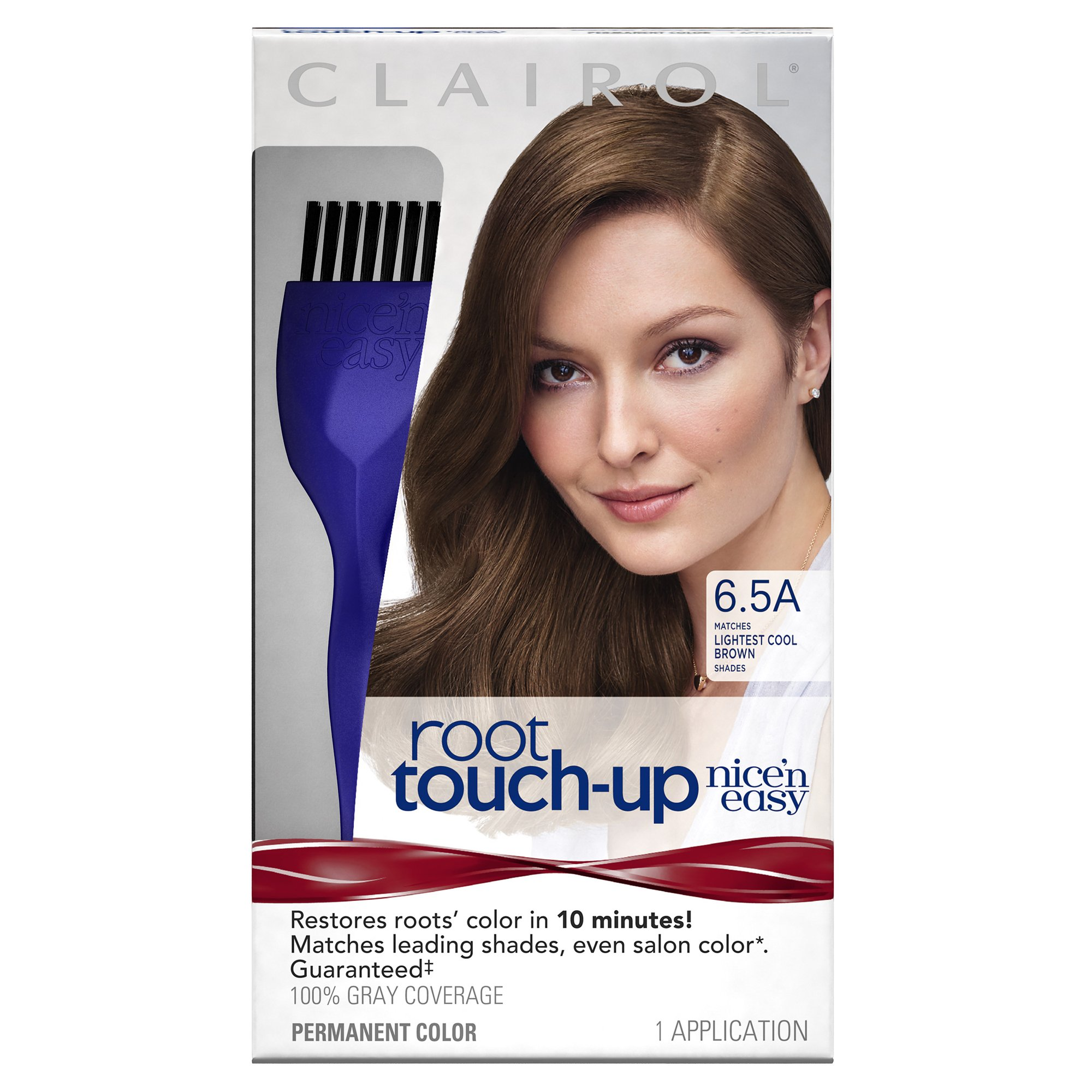 Clairol Nice 'n Easy Root Touch-Up, 6.5A Lightest Cool Brown, Permanent Hair Color, 1 Kit