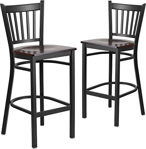 Flash Furniture 2 Pk. HERCULES Series Black Vertical Back Metal Restaurant Barstool – Walnut Wood Seat
