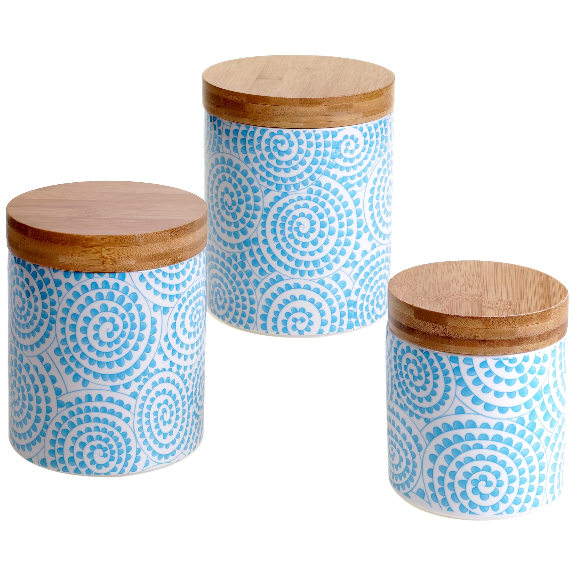 Certified International 3 Piece Chelsea Aqua Swirl Canister Set with Bamboo Lids, Multicolor