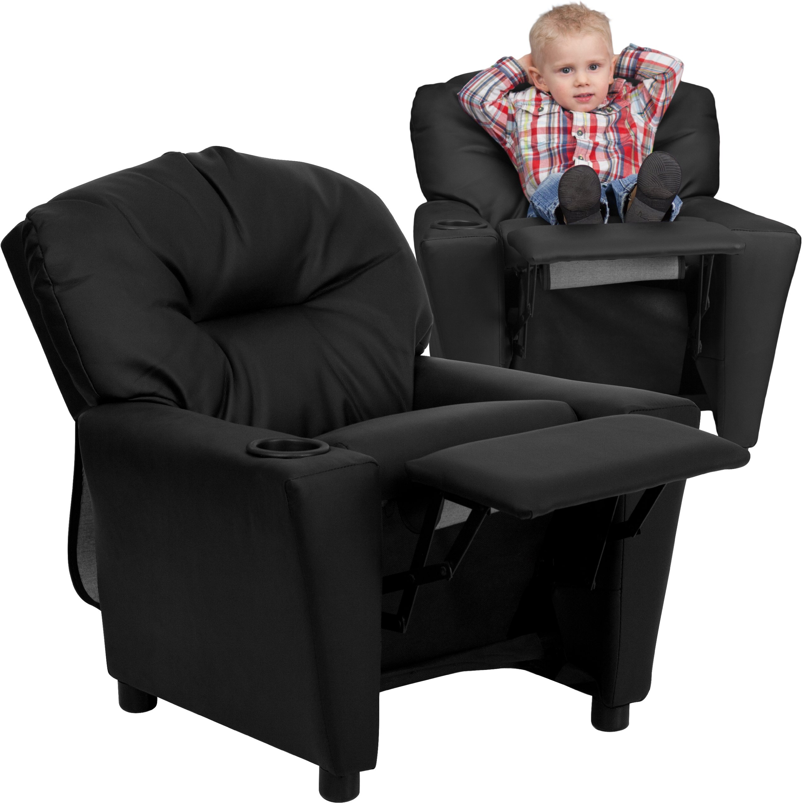 MFO Contemporary Black Leather Kids Recliner with Cup Holder